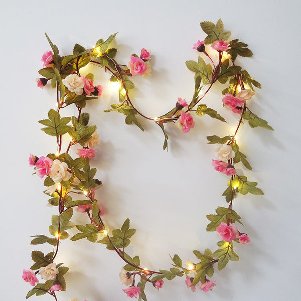 Lovely rose flower garland with Copper LED fairy string light