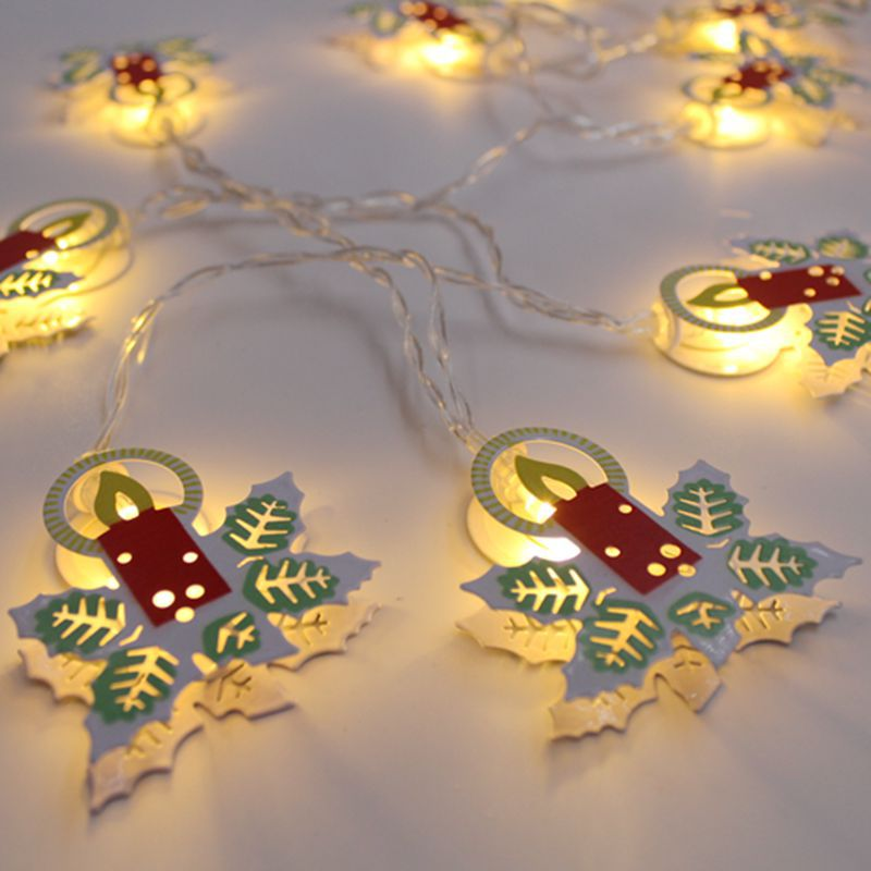 Iron Painted Candle Christmas Battery Box string Lights