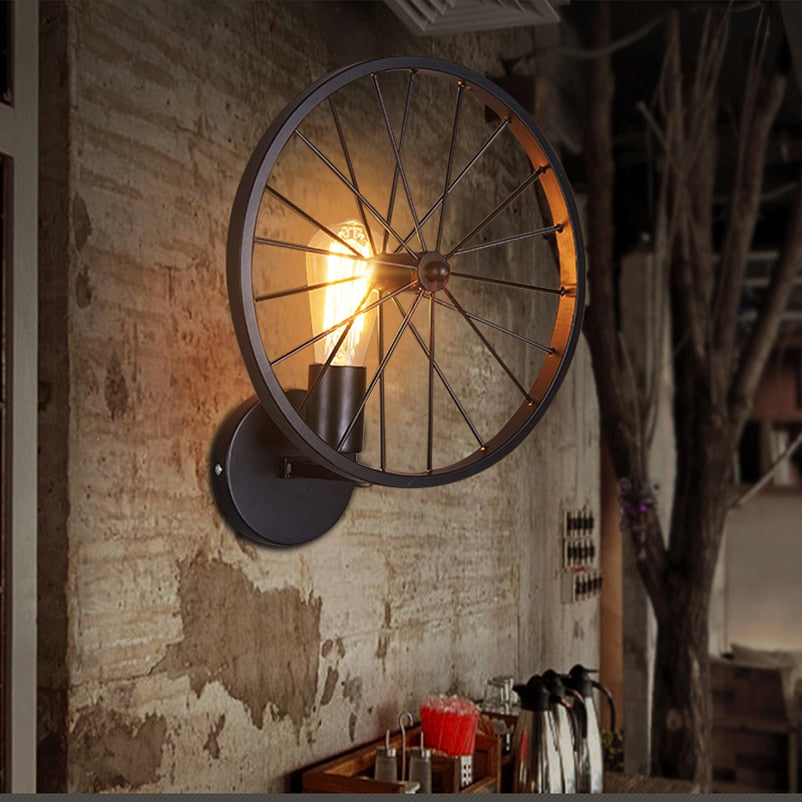 Creative Retro loft wheel Led wall lamp light