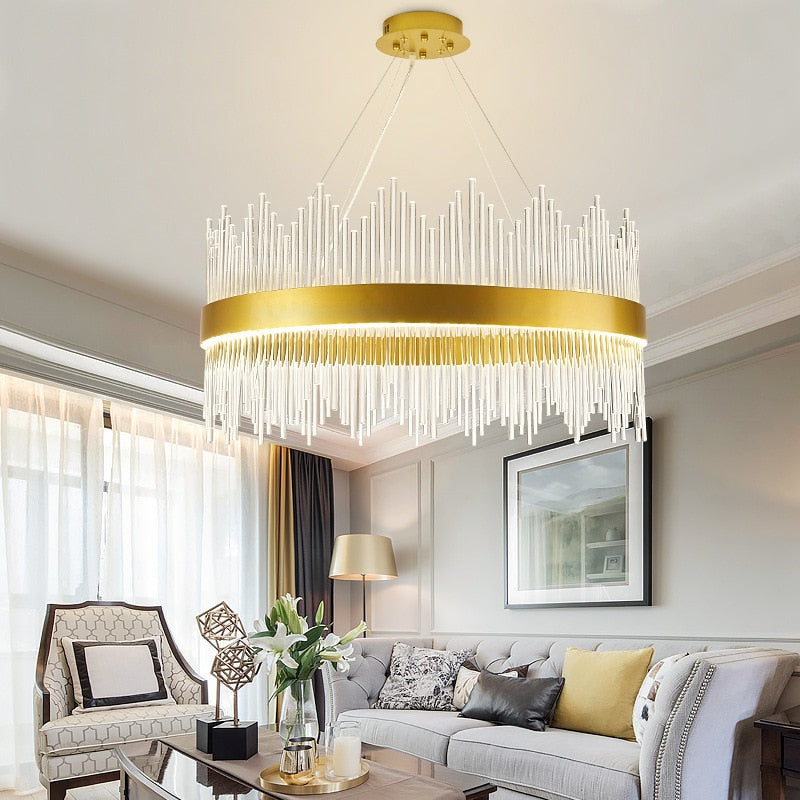 Luxury Gold Pendant Light with G9 Glass Tubes