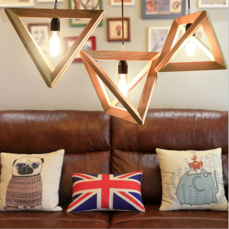 Wood Triangle Pendent Light Kitchen Dining Living Room lamp