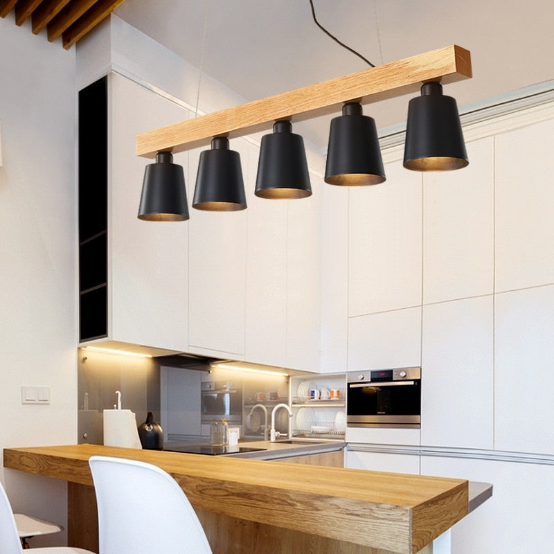 Modern Wood Pendant Lights for Kitchen Dining Room