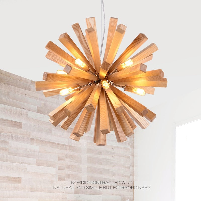 Wood Pendant Light LED Dandelion Hanging Lamp