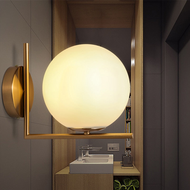 Modern Creative Wall Lamp Glass metal Base