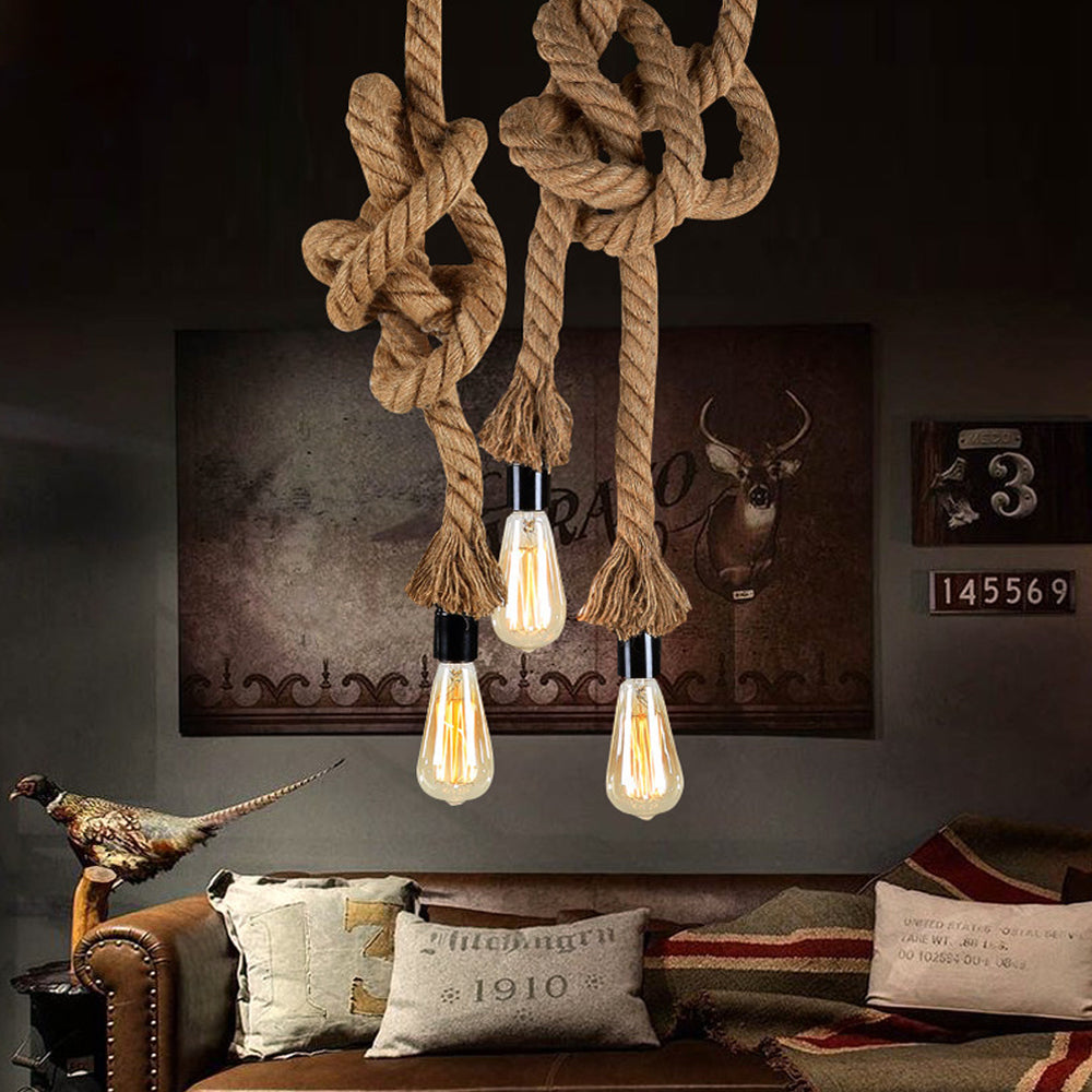 Retro Vintage Rope Loft Creative Industrial Pendant Light For Living Room - ePeriod Led Lighting Store