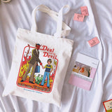 Deal with the devil letter print Vintage Harajuku casual female canvas shoulder bag fun cartoon summer Ulzzang shopping bags