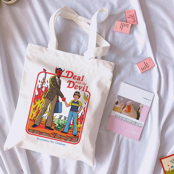 Deal with the devil canvas tote bag - Kool Cat Records T Shirts N More