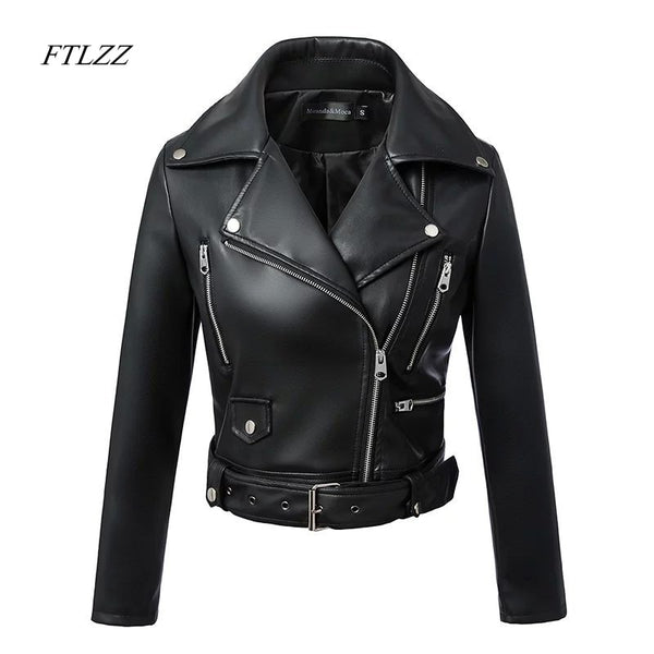 FTLZZ 2018 New Fashion Women Autumn Winter Black Faux Leather Jackets Zipper Basic Coat Turn-down Collar Biker Jacket With Blet - Kool Cat Records T Shirts N More