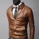 Men Leather Coat Motorcycle Leather Jackets Male Slim Casual Coats With Zipper Man Outerwear Stand Collar Jackets Jaqueta