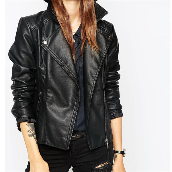 Autumn Street Women's Short Washed PU Leather Jacket Zipper Bright Colors New Ladies Basic Jackets Good Quality - Kool Cat Records T Shirts N More