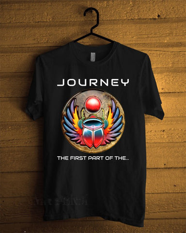 Summer Sleeves Men'S O-Neck 100% Cotton Short Sleeve Journey Band - The Firs Part Of The Rock Band Black Tee - Kool Cat Records T Shirts N More