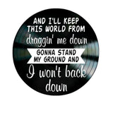 I Won't Back Down song lyrics by Tom Petty on a Vinyl Record Album - Kool Cat Records T Shirts N More