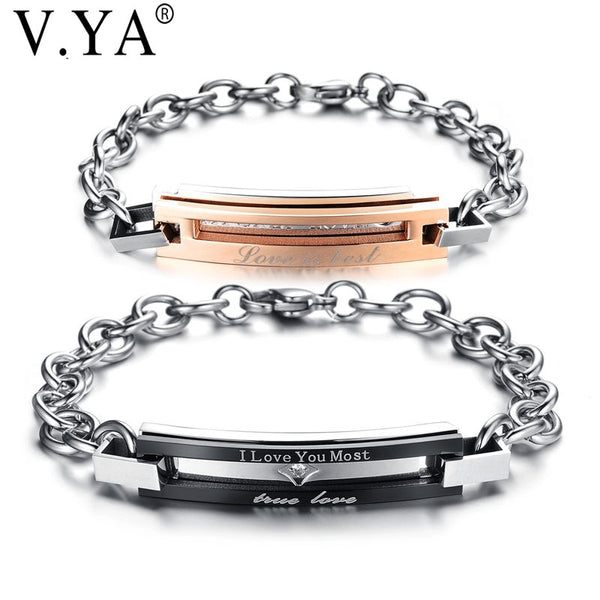 "V.YA Fashion""Real Love & I love you most""Stainless Steel Couple Bracelets DIY Engrave Logo For Women Men Jewelry Gifts Drop Ship - Kool Cat Records T Shirts N More"