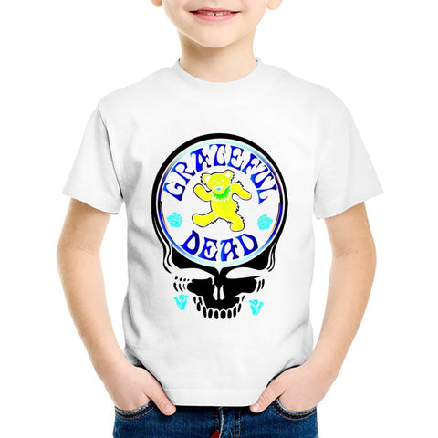 Grateful Dead Skull Printed Children T-shirts Kids Summer Album Country Folk Rock Band Tees Boys/Girls Bear Tops Clothes,HKP457 - Kool Cat Records T Shirts N More