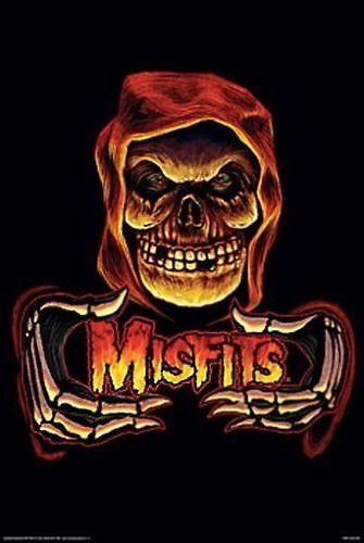 "Misfits Hooded Skull & Skeleton Hands Art Silk Fabric Poster 36"" x 24"" - Kool Cat Records T Shirts N More"