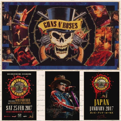 The Guns N 'roses N' Roses Gun Kraft Paper Poster Retro Rockers Decorative Painting Posters Vintage wall sticker - Kool Cat Records T Shirts N More
