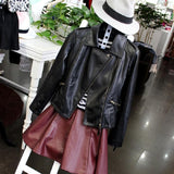 OLGITUM 2018 Autumn Women Black Slim Cool Lady PU Leather Jackets Sweet Female Zipper Faux Femme Outwear Coat Plus Size JK254 - Kool Cat Records T Shirts N More