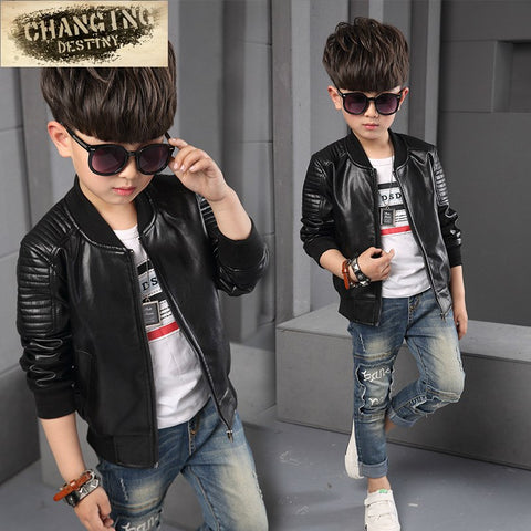 Kids light but warm  jacket Faux leather stylish Clothing - Kool Cat Records T Shirts N More