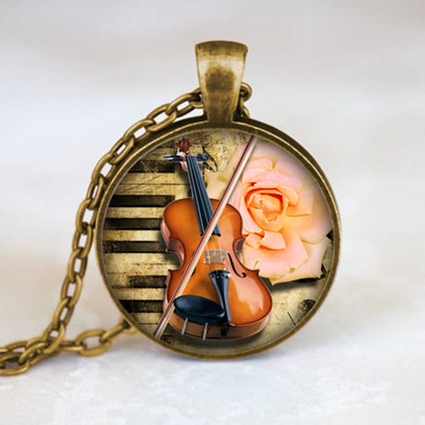 Musical Instrument Necklace, Music Lovers Jewelry, Music Score Pendant, Handcrafted necklaces & pendants - Kool Cat Records T Shirts N More