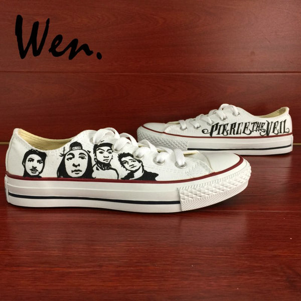 Wen Men Low Top Skateboarding Shoes Hand Painted Shoes Design Custom Pierce the Veil White Graffiti Painting Women Sneakers - Kool Cat Records T Shirts N More