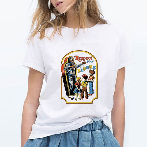 Respect Your ELDERS Vintage Female T-Shirt - Kool Cat Records T Shirts N More