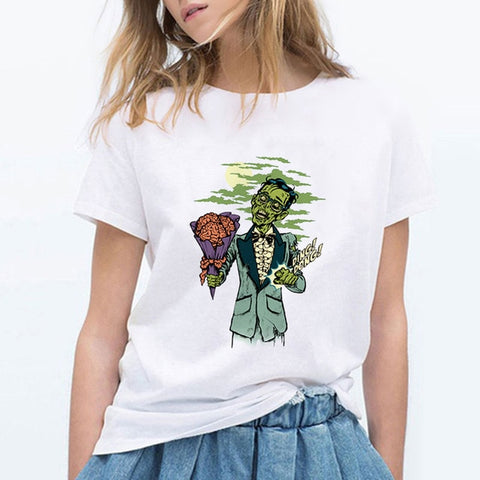 Zombie With Flower Ding Dong Vintage Female T-Shirt - Kool Cat Records T Shirts N More