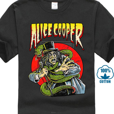 Alice Cooper Comic Book Black T Shirt