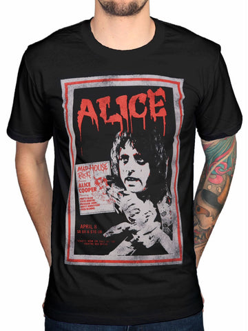 Official Alice Cooper Vintage Poster T-Shirt Dirty Diamonds Trash Lace And Whisk summer