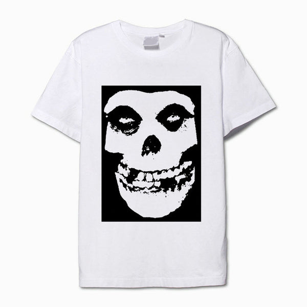 The misfits black and white skull mask printing vintage t shirt