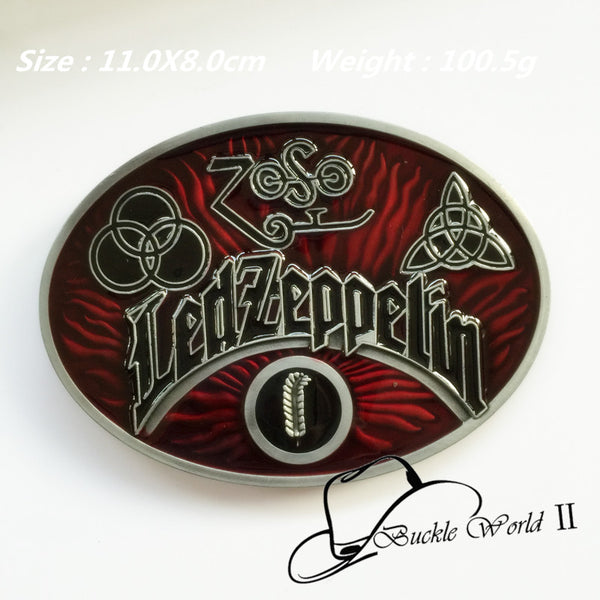 Fashion Oval Led Zeppelin Band muisc belt buckle for men women Jeans accessories fit 4cm Wide Belt 11*8cm 100.5g Red Black Metal