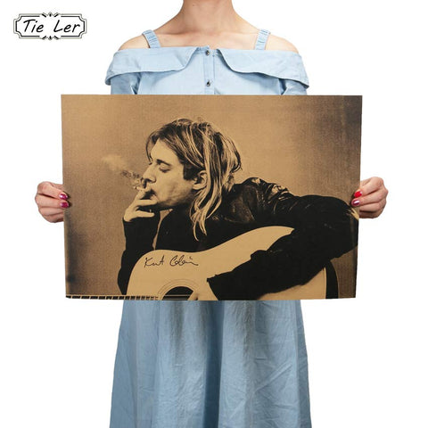 Kurt Cobain Nirvana Frontman Rock Poster Kraft Paper Cafe Bar Poster Retro Poster Wall Sticker - Kool Cat Records T Shirts N More
