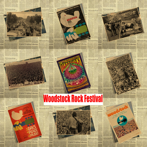 Woodstock rock music festival/retro craft paper decorative painting poster vintage - Kool Cat Records T Shirts N More