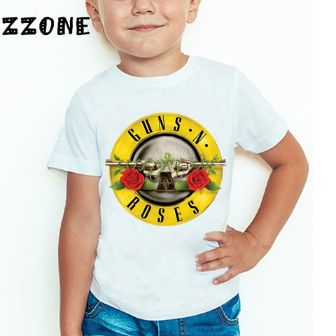 3T~9T Rock Band Gun N Roses kids T shirt  Boys and Girls Short Sleeve Tops Kids Casual T shirts