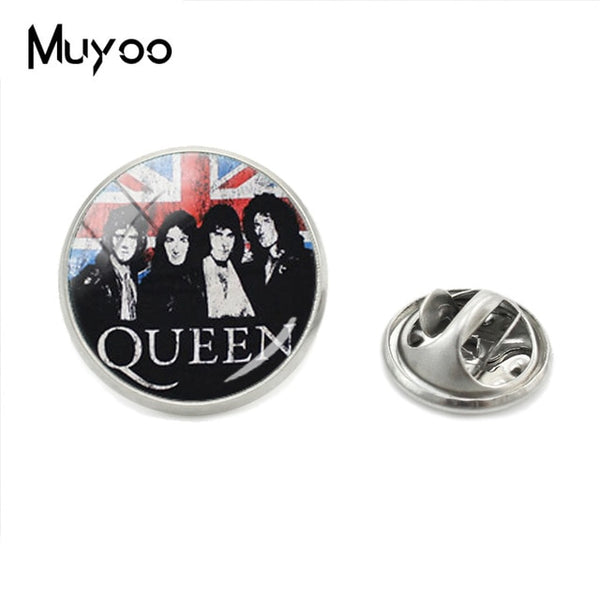 Rock Queen Band Photos Glass Dome Pins Hand Craft Brooch Queen Logo - Kool Cat Records T Shirts N More