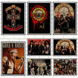 Guns N Roses Rock Music Posters Vintage Poster Retro Wall Sticker Home Decor Kraft paper/Cafe/Bar poster/ Retro style - Kool Cat Records T Shirts N More