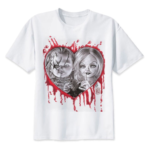 Chucky and bride with heart  Casual Horror women's T-Shirt - Kool Cat Records T Shirts N More
