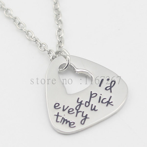 "Hand Stamped Guitar Pick ""I'd pick you every time""necklace Anniversary Unique Gift"