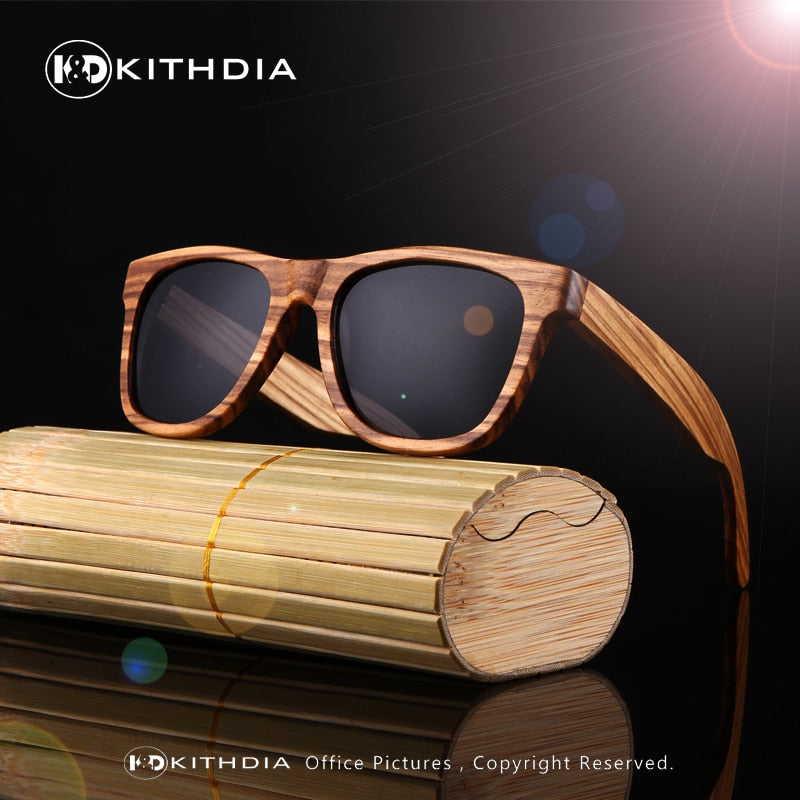 Zebra Wood Sunglasses Polarized Handmade Bamboo Mens Sun glasses
