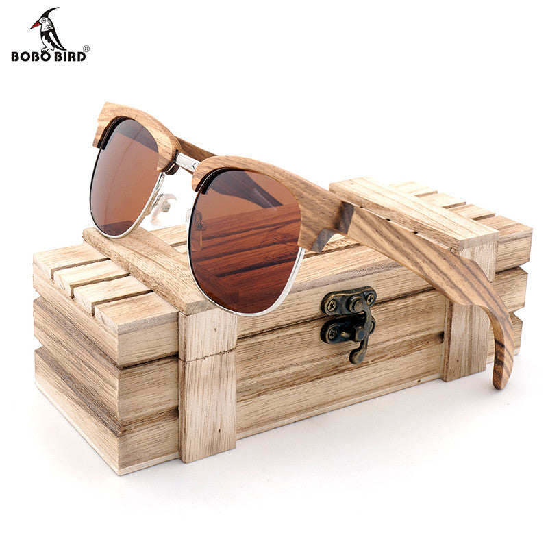 BOBO BIRD Brand Zebra-stripe Design Luxury Sunglasses Women Original Wood Handmade Sun Glasses Man Fashion Vintage Style