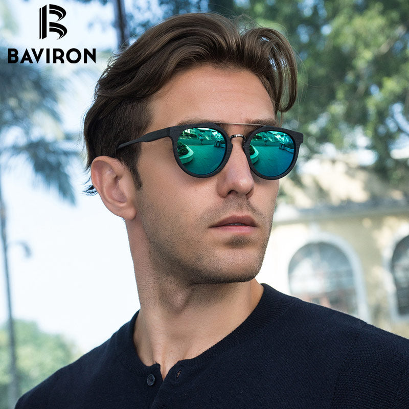BAVIRON Wooden Sunglasses Retro Trend Plate Sun Glasses Metal Anti-UV400  Polarized Coating Wood Sunglasses Eyewear