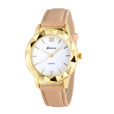 New Gemstone Luxury Watches Women Gold Bracelet Watch PU Leather Electronic Quartz Clock