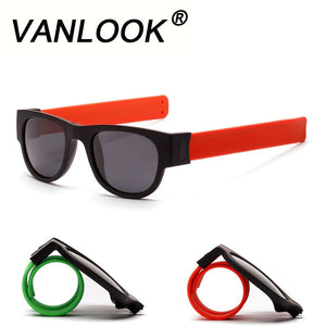 Slappable Sunglasses Polarized Men and Women fold Shades Oculos Colorful Mirror