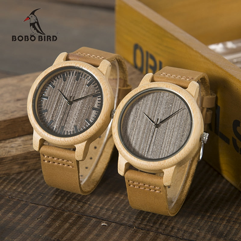 BOBO BIRD Womens Casual Antique Round Bamboo Wooden Watch Leather Strap
