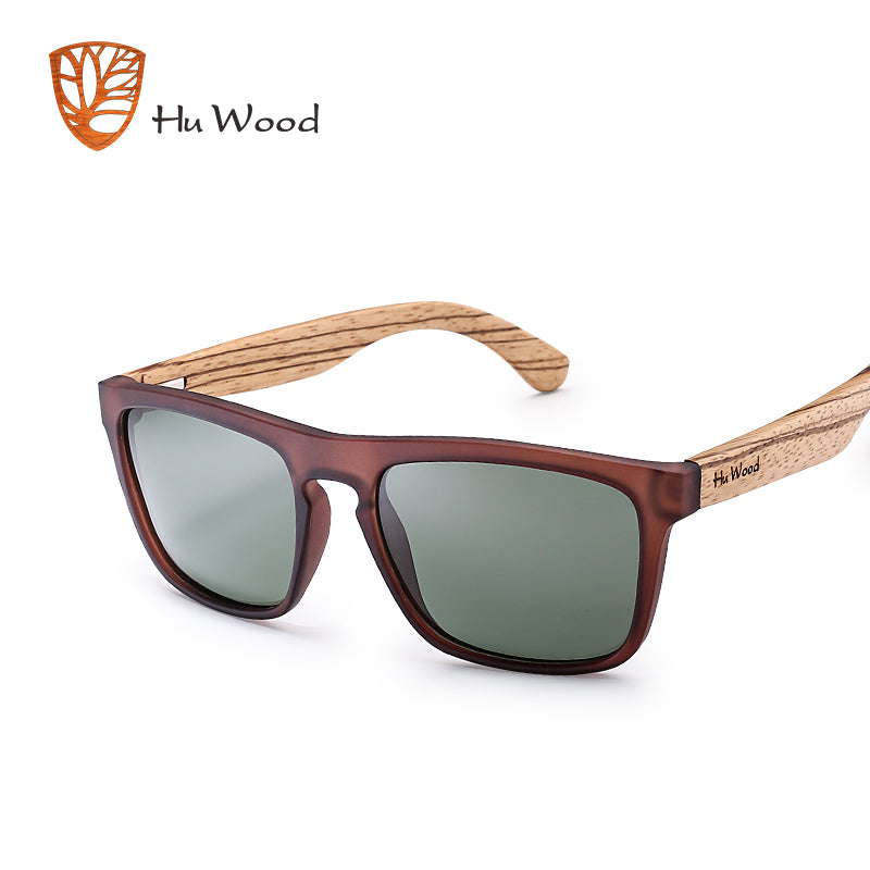 HU WOOD Natural Bamboo Sunglasses for Men Zebra Wood Sun Glasses Polarized Sunglasses Rectangle Lenses Driving UV400 GR8002