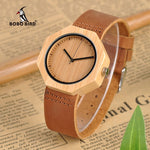 BOBO BIRD Lady Wood Watches Leather Strap Quartz Wristwatches Casual Bamboo Timepiece