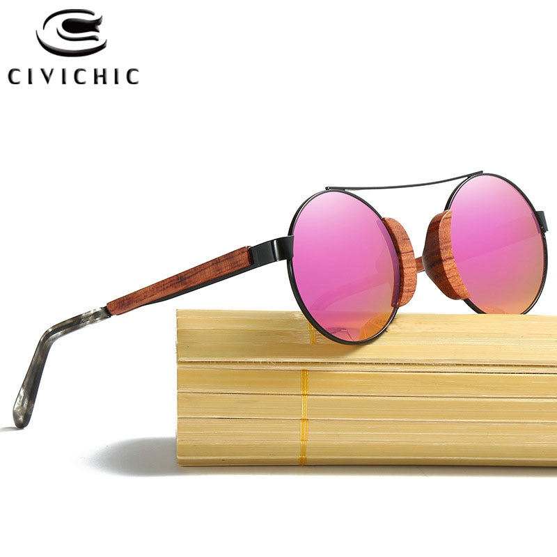 CIVICHIC Retro Wooden Polarized Round Sunglasses Men Bamboo Eyewear Women Brand Designer UV400 Mirror Filmed Lens Lunettes KD050
