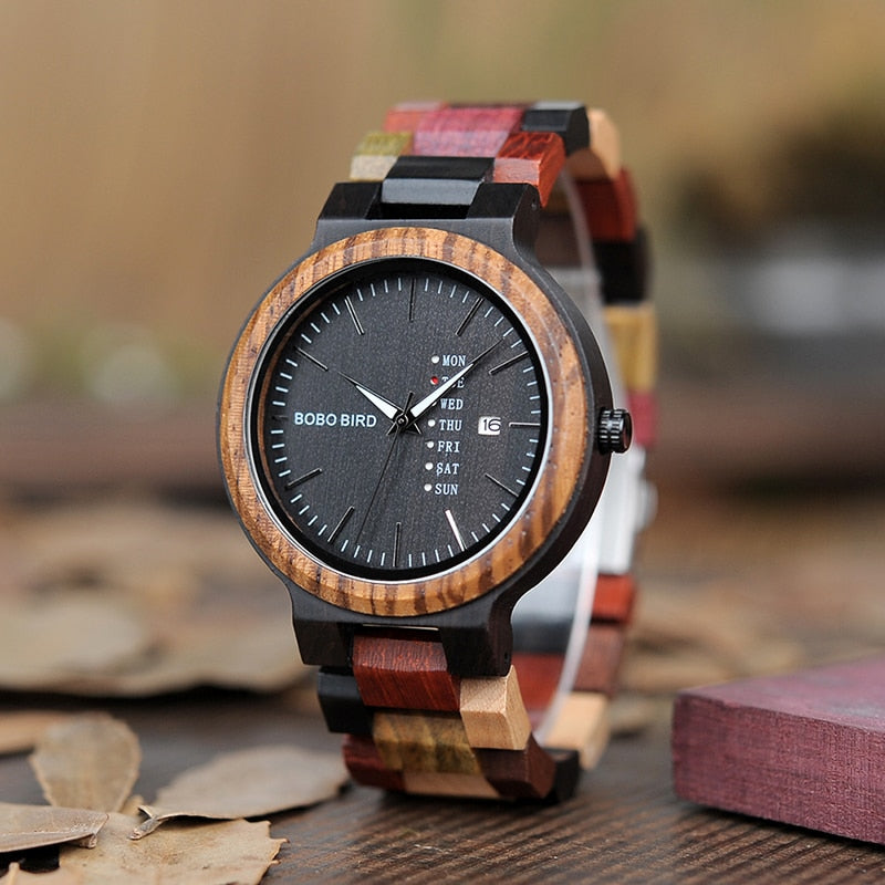 BOBO BIRD Wood Watch Men Women Quartz Week Date Timepiece Colorful Wooden Band