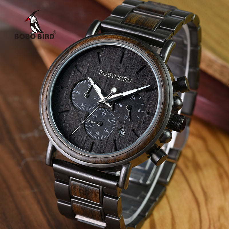 BOBO BIRD Business Men Watch Metal Wood Wristwatch Chronograph Date Display with Gift Box