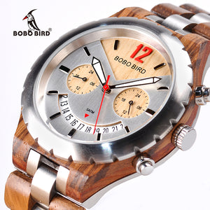 BOBO BIRD Elegant Wooden Mens Watches Top Brand Luxury Metal Wristwatch Waterproof Date Display
