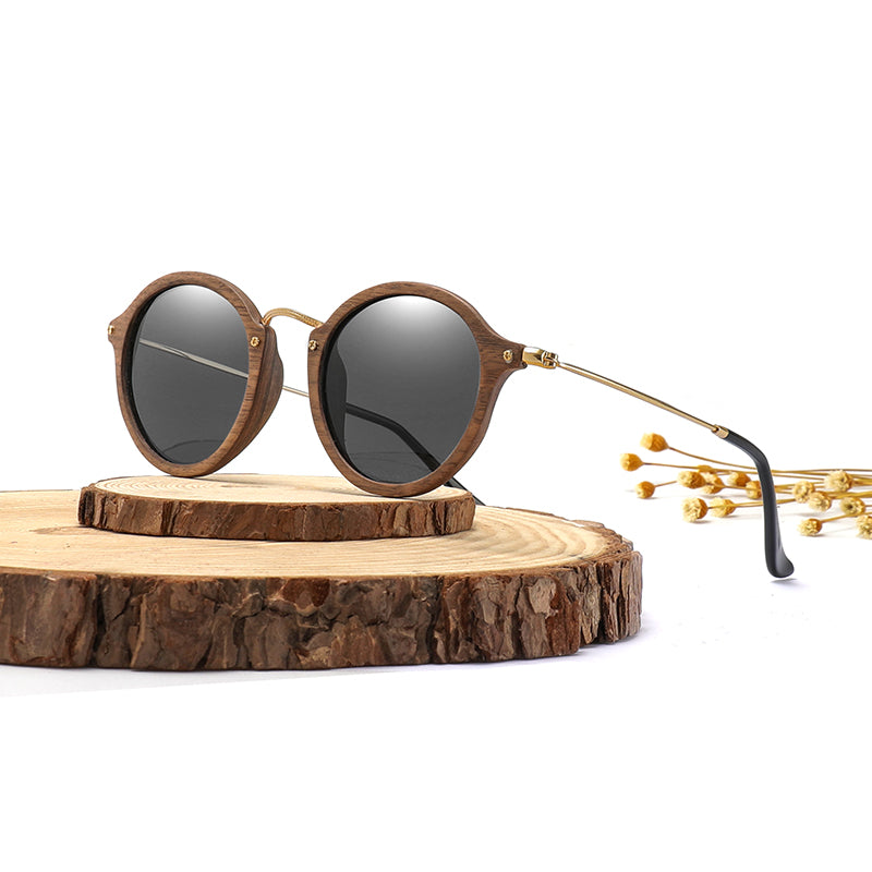 Ultralight Women Men Polarized Sunglasses Wooden Round Frame CR39 Lens